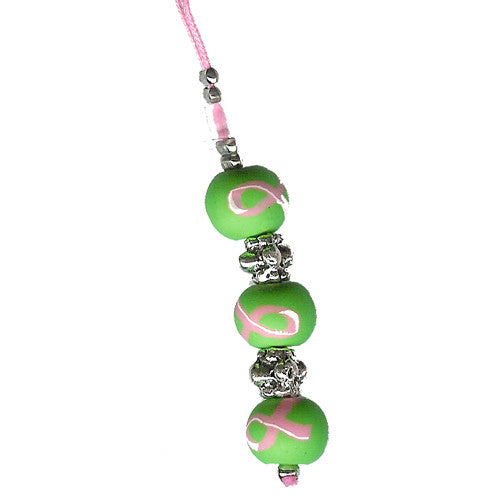 Green w/ Pink Ribbon Clay Beads Purse Charm