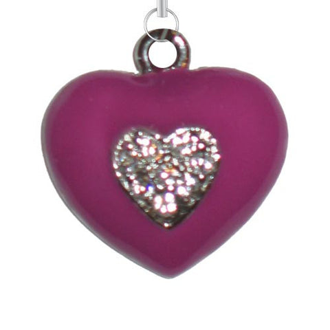 Pink Heart w/ Clear Stones Charm - Charm14