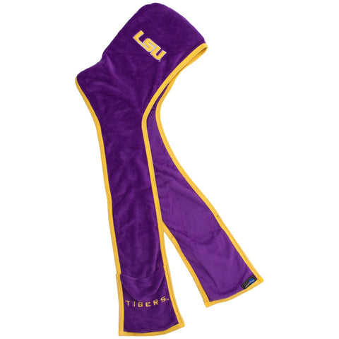 Louisiana State University Tigers- Ultra Fleece Hooded Scarf w/Pockets