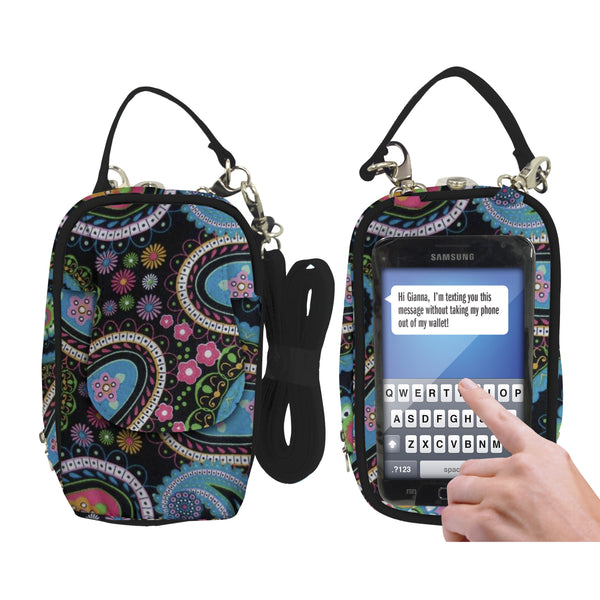 Cell Phone Purse - Paisley Multicolor PursePlus XL with Touchscreen - Charm14