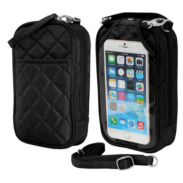 Cell Phone Purse - Black PursePlus Quilt with Touchscreen - Charm14