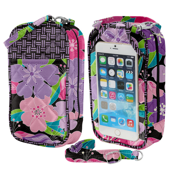 XLarge-Crossbody Cell Phone Purse Quilt-Fashion Designs by Debra Valencia - Charm14