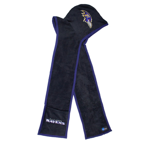 NFL BALTIMORE RAVENS ULTRA FLEECE HOODIE SCARF with Pockets - Charm14