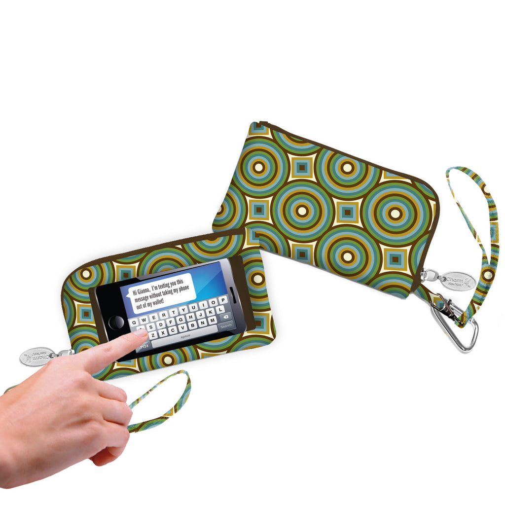 Green Concentric Circles Smartphone Wristlet - Charm14