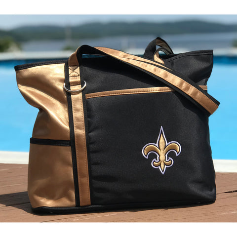 New Orleans Saints Tote Bag with Embroidered Logo - Charm14