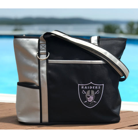 Oakland Raiders Tote Bag with Embroidered Logo - Charm14