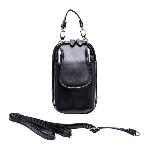 Cell Phone Purse - Classic Black Leatherette XL - Charm14