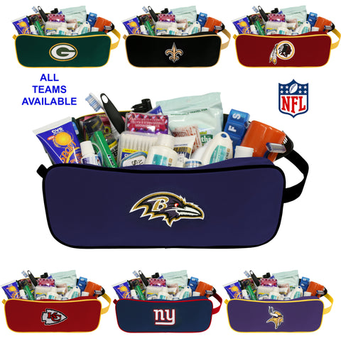 NFL Unisex Travel Case- Toiletry Bag- Dopp Kit with Embroidered Logo- by Little Earth