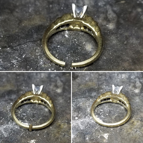 Picture of ring during and after sizing