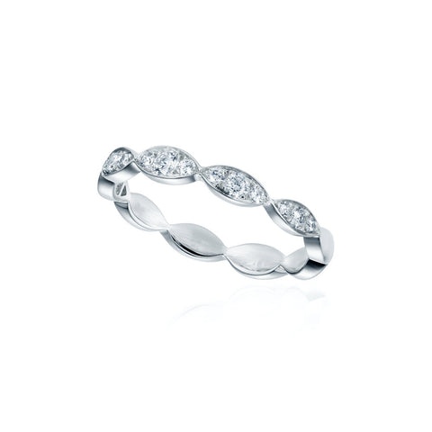 Scalloped Pave Band in White Gold