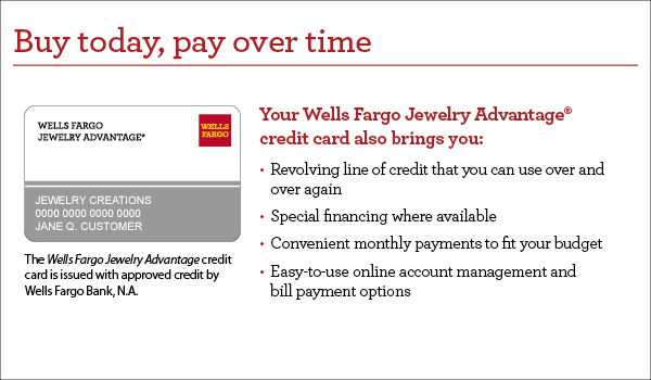 Buy today, pay over time. This credit card also brings you revolving line of credit that you can use over and over again, special financing where available, convenient monthly payments to fit your budget, easy-to-use online account management and bill payment options. This credit card is issued with approved credit by Wells Fargo Bank, N.A. Equal Housing Lender.