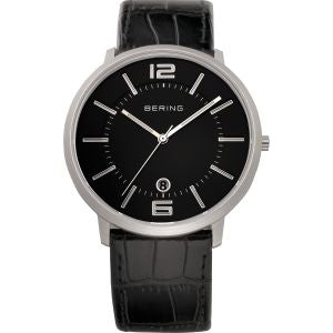 Unisex Black Face Watch With Black Calfskin
