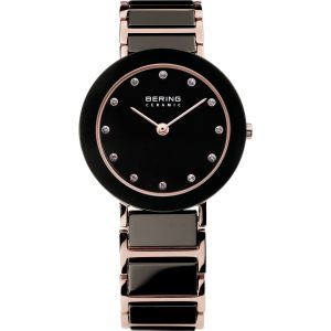 Ladies Rose Ceramic Black Watch