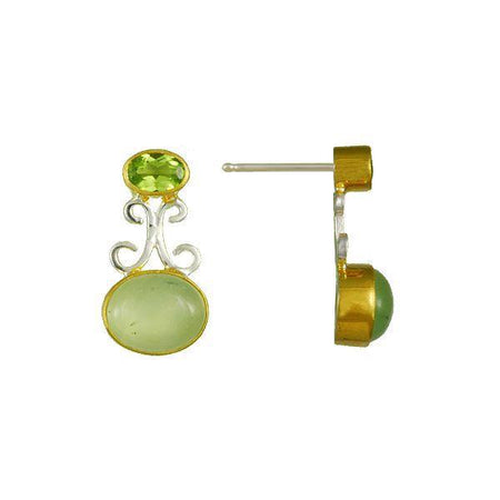 Prehnite and Peridot Earrings