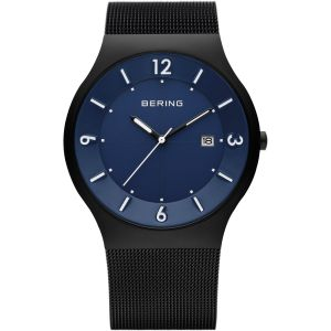 Gents Black Solar Watch With Blue Face