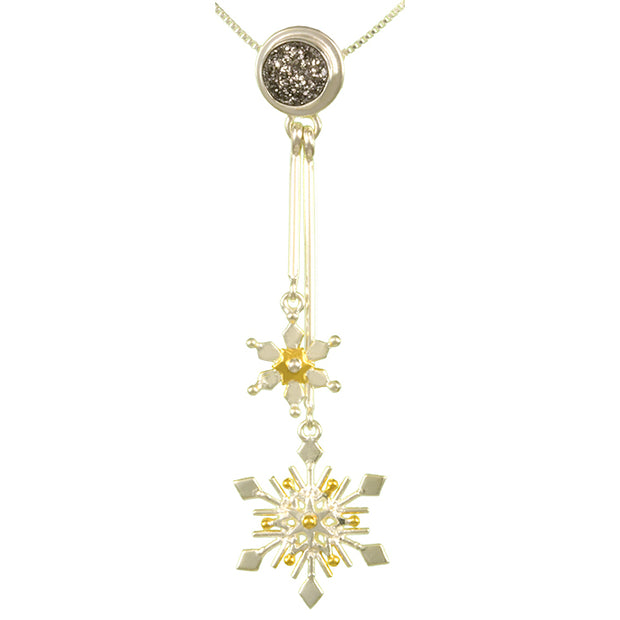 Sterling Silver and 22K Gold Vermeil Pendant with Silver plated Druzy