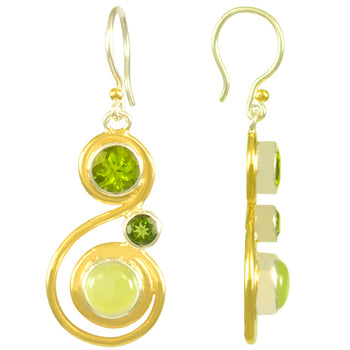 Sterling Silver and 22K Gold Vermeil Earring with Prehnite, Peridot and Envy Topaz