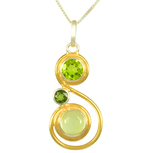 Sterling Silver and 22K Gold Vermeil Pendant with Prehnite, Peridot and Envy Topaz