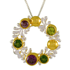 Sterling Silver and 22K Gold Vermeil Pendant with Rhodolite Garnet, Peridot and Envy Topaz
