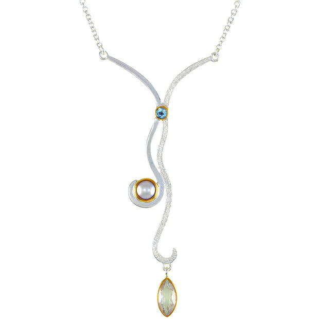 Sterling Silver and 22K Gold Vermeil Pendant with White Freshwater Pearl, White Quartz and Sky Blue Topaz