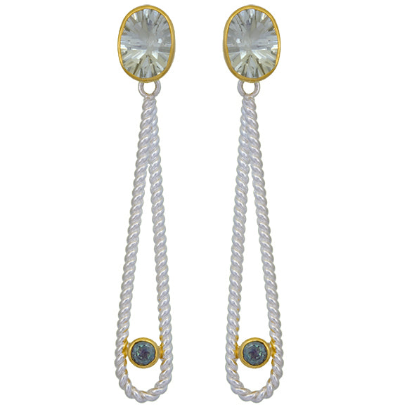Sterling Silver and 22K Gold Vermeil Earring with Green Amethyst and Envy Topaz