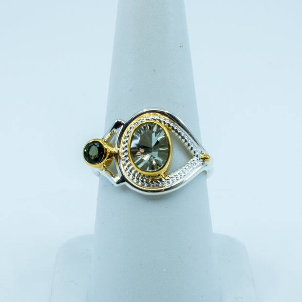 Sterling Silver Ring with Green Amethyst and Envy Topaz