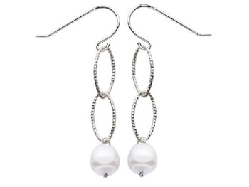 Ovals & Pearl Station Earrings