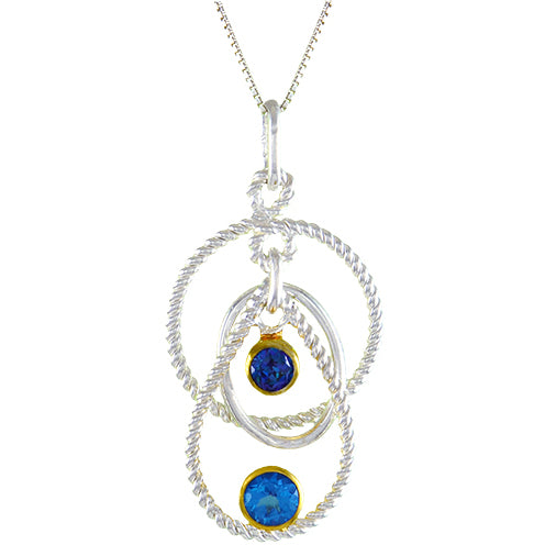 Sterling Silver and 22K Gold Vermeil Pendant with Baby Blue Topaz and Trendy Solo Topaz