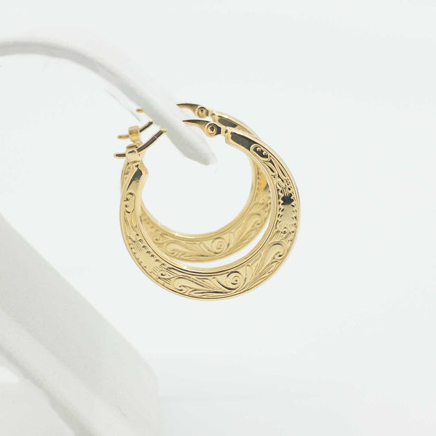 Flat Shell 14K Yellow Gold Hoops