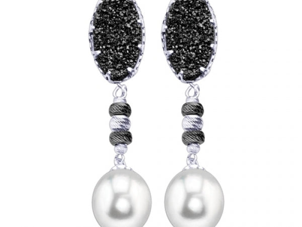 Pearl & Black Drusy Earrings