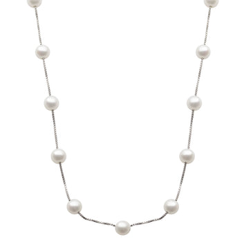 Silver Pearl Station Necklace