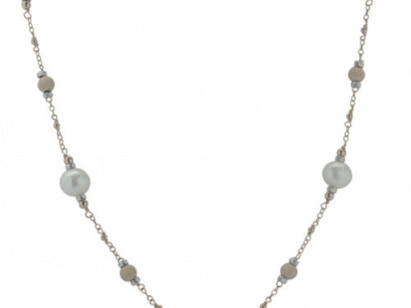 RoseGold Filled Pearl Station Necklace
