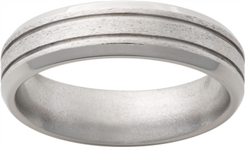 Titanium 6mm With .5mm Grooves Stone Mens Wedding Band