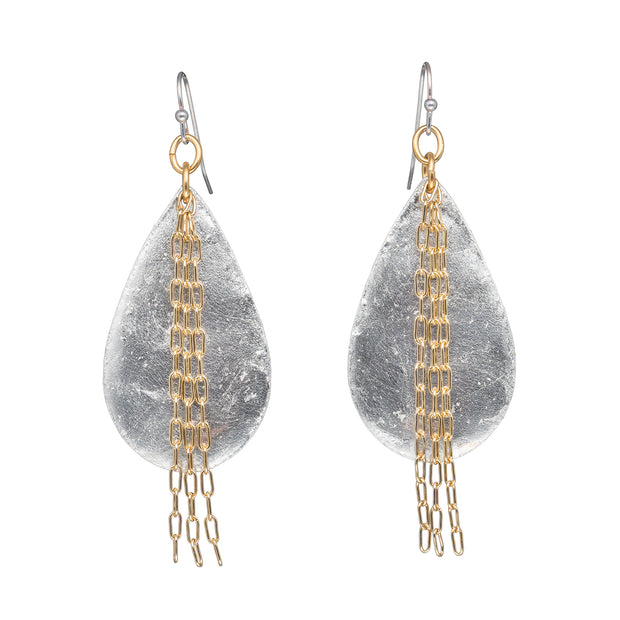 Delia in Chains Medium Teardrop Earrings - Silver