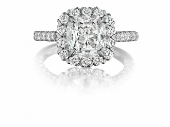 Round Center Diamond Halo Engagement Ring
