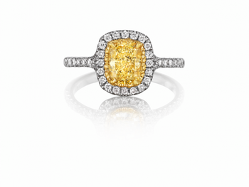 Yellow Cushion Center Diamond Halo Engagement Ring