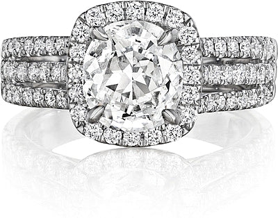 Triple row cushion cut center engagement ring
