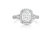 14 Karat White Gold Cushion Center Diamond Engagement Ring