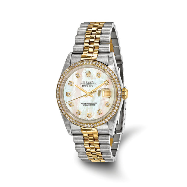 Pre-Owned Independently Certified Rolex Steel/18ky Mens Diamond MOP Watch