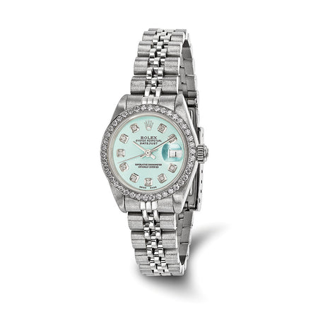Pre-owned Independently Certified Rolex Steel/18kw Bezel Dia Ice Blue Watch Womens