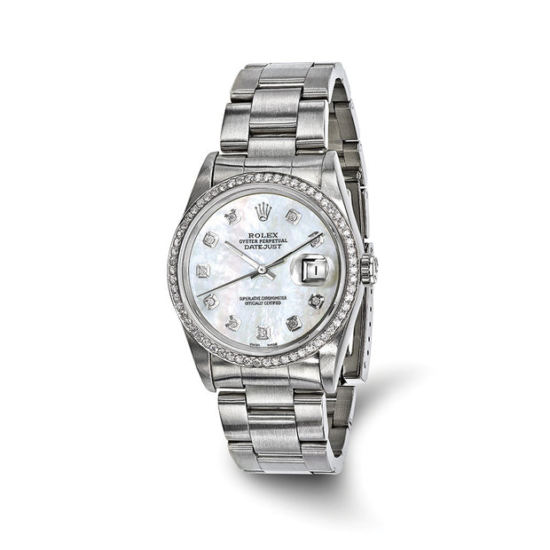 Pre-owned Independently Certified Rolex Steel/18kw Bezel Mens Dia MOP Watch