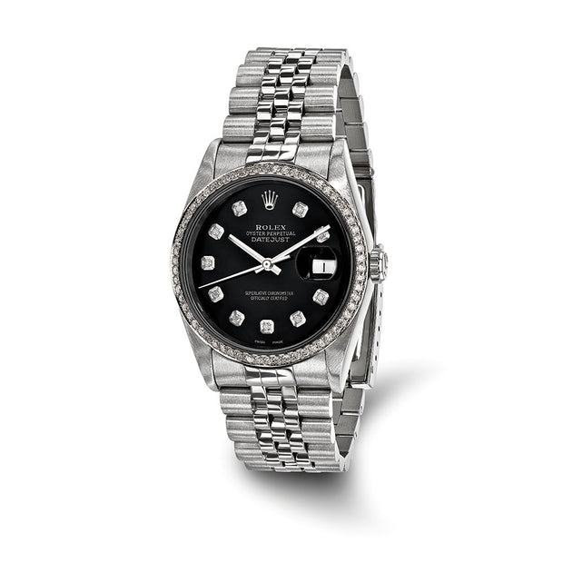 Pre-Owned Independently Certified Rolex Steel/18kw Mens Black Dial Dmds