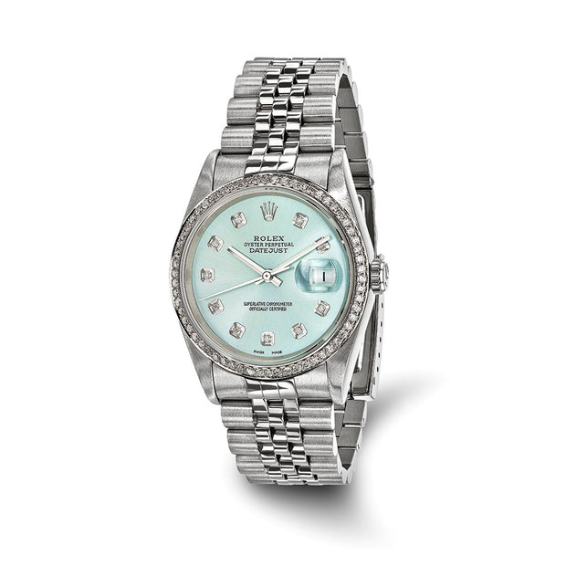Pre-owned Independently Certified Rolex Steel/18kw Bezel Dia Ice Blue Watch Mens