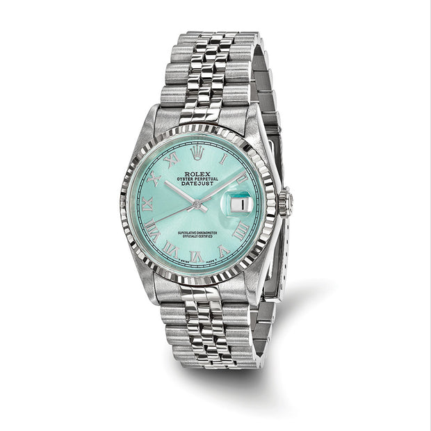 Pre-owned Independently Certified Rolex Steel/18kw Datejust Ice Blue Watch Mens