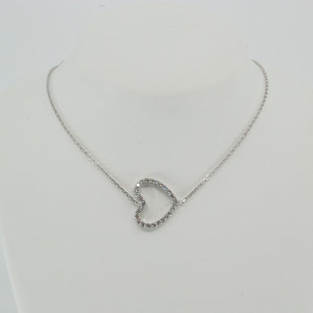 Horizontal Heart Diamond (CZ) Necklace