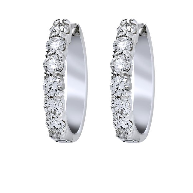 Spark Diamond Huggie Earrings 18KW
