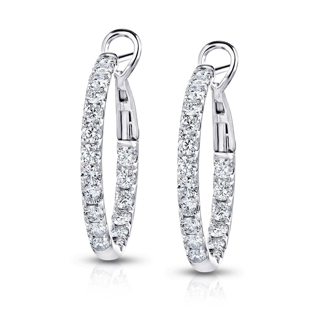 Spark Comfort Fit Inside/Outside Diamond Earrings 2.10cttw/18KW