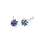 Alexandrite Bezel Set Stud Earrings