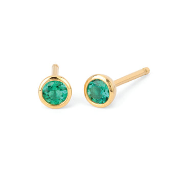 Emerald Bezel Set Stud Earrings