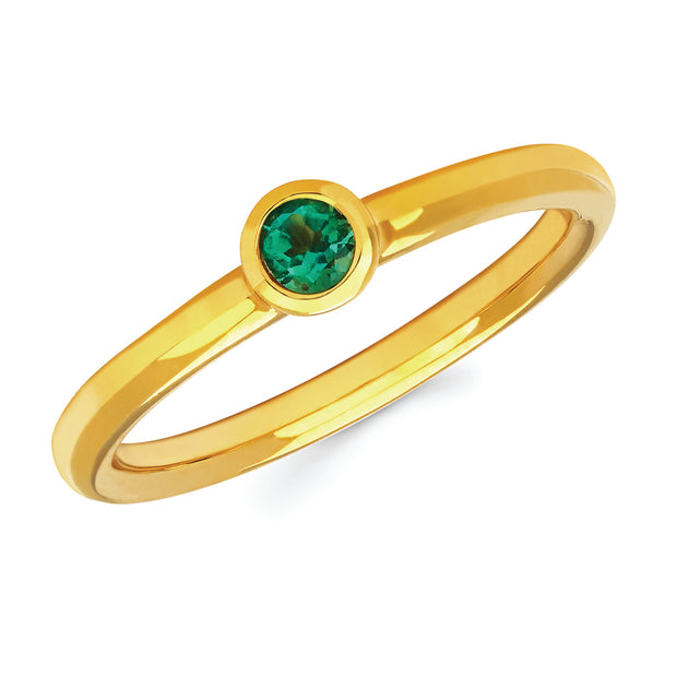 Emerald Bezel Set Ring